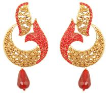 Touchstone Indian Bollywood curved fish Austrian crystals jewelry earrings for women