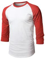 Hat and Beyond Mens Baseball Raglan 3/4 Sleeve Plain Casual Tee Basic Active T Shirts