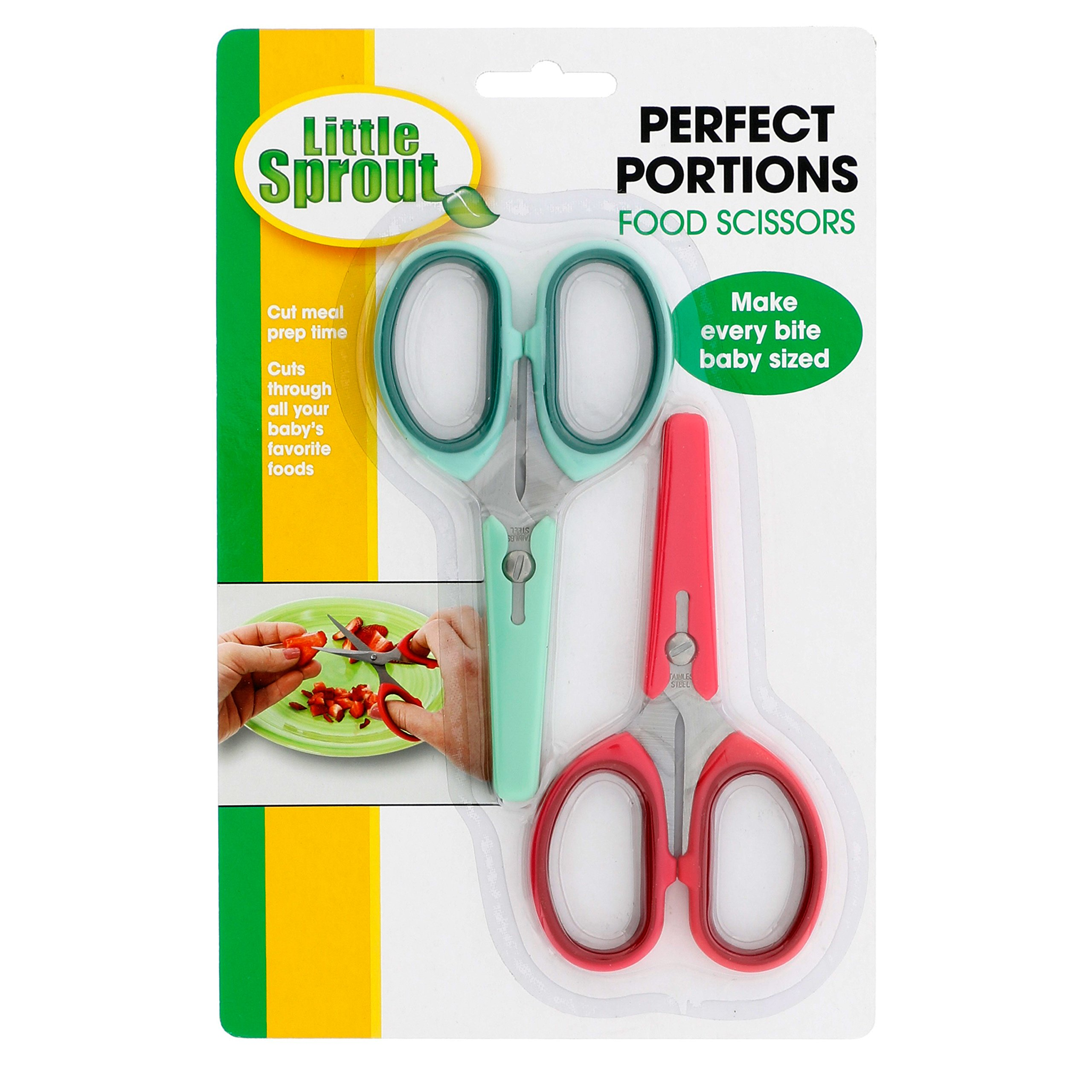 Baby Food Scissors 2 Pack w Covers- Safety Stainless Steel Shears to Make Every Bite Baby Sized and Safe
