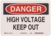 """Brady 45470 10"""" Width x 7"""" Height B-120 Premium Fiberglass, Black and Red on White Admittance Sign, Header """"Danger"""", Legend """"High Voltage Keep Out"""""""