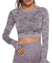 CFR Women's High Waist Seamless Leggings Energy Gym Workout Yoga Pants Stretch Print Camo Soft Tights Shirts