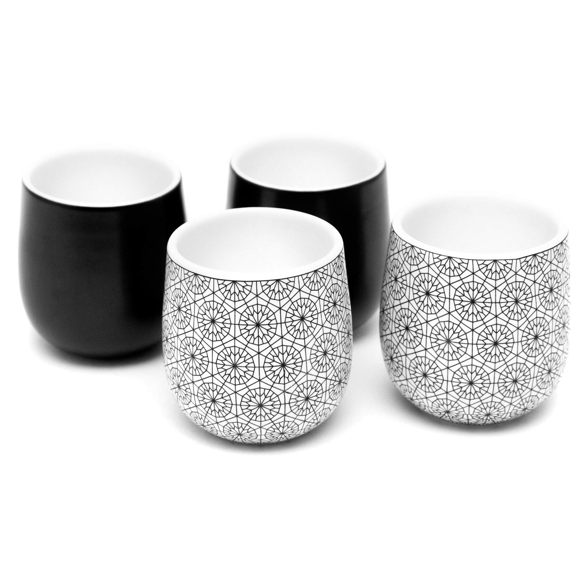 Double Walled Espresso Cups, Dobbelt Set of 4, 2 Oz - 2 Black and 2 circle Pattern - Insulated Ceramic Cups for Latte, Cappuccino, Tea - Modern, Contemporary, Art Deco Design - Box Set, by Kop & Hagen
