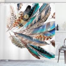"""Ambesonne Feathers Shower Curtain, Vaned Types and Natal Contour Flight Bird Feathers and Animal Skin Element Print, Cloth Fabric Bathroom Decor Set with Hooks, 84"""" Long Extra, Teal Brown"""