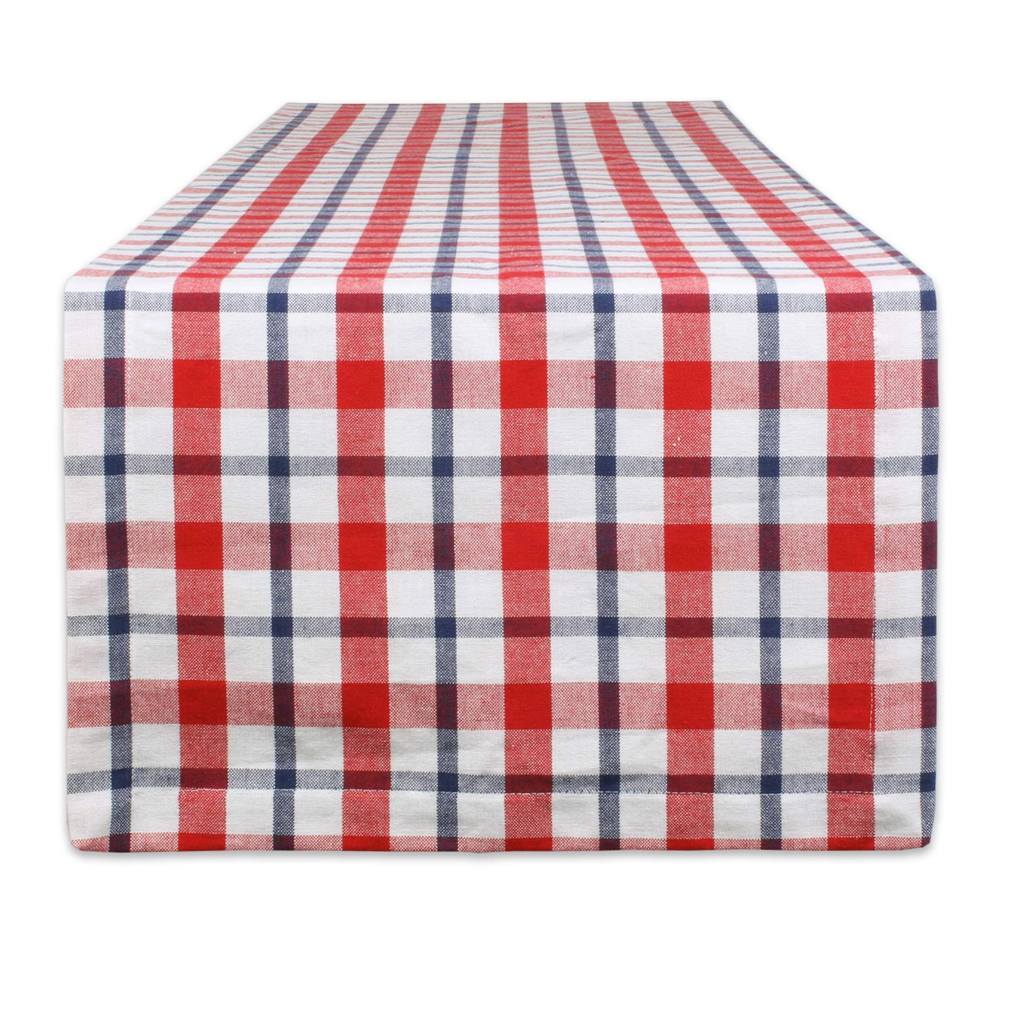 DII American Plaid Table Top Collection for Everyday Use, Summer Cook-Outs, Barbeques, Picnics, Indoor/Outdoor Entertaining, 100% Cotton Machine Washable, Runner, 14x72