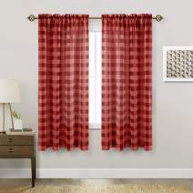 Hiasan Buffalo Plaid Sheer Curtains for Living Room - Faux Linen Voile Checkered Window Curtains for Bedroom and Farmhouse, 52 X 63 Inches Long, Set of 2 Curtain Panels, Black and Red