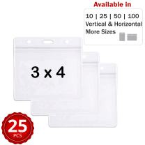 Durable & Heavy-Duty ID Badge Holders ~ Premium Quality, Clear Plastic, Waterproof & Dustproof ~ For Work, Moms, Teachers, Tours, Events, Cruises & More (25 Pack, Horizontal, 3 x 4) by Stationery King