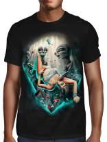 SFYNX 'PLURduction' Alien Rave T Shirt - Glow in The Dark EDM Clothing - Blacklight Reactive Mens Tee