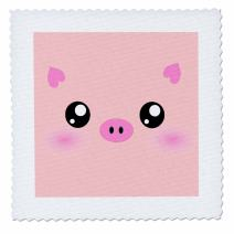 3dRose Kawaii Pig face-Cute Pink Minimalist Farm Animal Cartoon-Nursery Kids Child Children Girly Girls-Quilt Square, 12-inch (qs_113123_4)