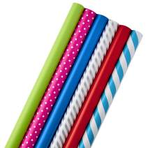 Hallmark All Occasion Wrapping Paper Bundle with Cut Lines on Reverse (Pack of 6; 180 sq. ft. ttl.) Solids, Polka Dots & Stripes for Birthdays, Easter, Mothers Day, Weddings, Baby Showers
