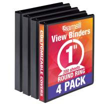 Samsill Economy 3 Ring Binder Organizer, 1 Inch Round Ring Binder, Customizable Clear View Cover, Black Bulk Binder 4 Pack