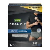 Depend Real Fit Incontinence Underwear for Men, Maximum Absorbency, Disposable, S/M, 48 Pack (4 Packs of 12)
