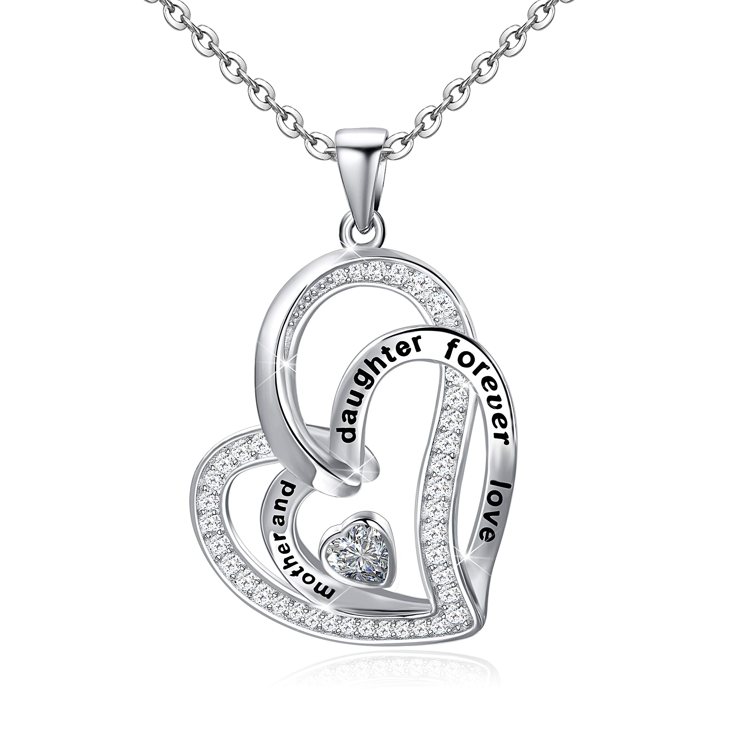 Mother and Daughter Necklace S925 Sterling Silver Forever Love Heart Necklace Jewelry Gits for Women Mom Daughter at Mother's Day