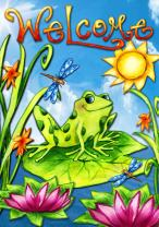 Toland Home Garden Spring Is In The Air 12.5 x 18 Inch Decorative Colorful Frog Welcome Flower Sun Garden Flag