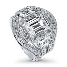 BERRICLE Rhodium Plated Sterling Silver Emerald Cut Cubic Zirconia CZ Halo Engagement Wedding Ring Set 4.68 CTW