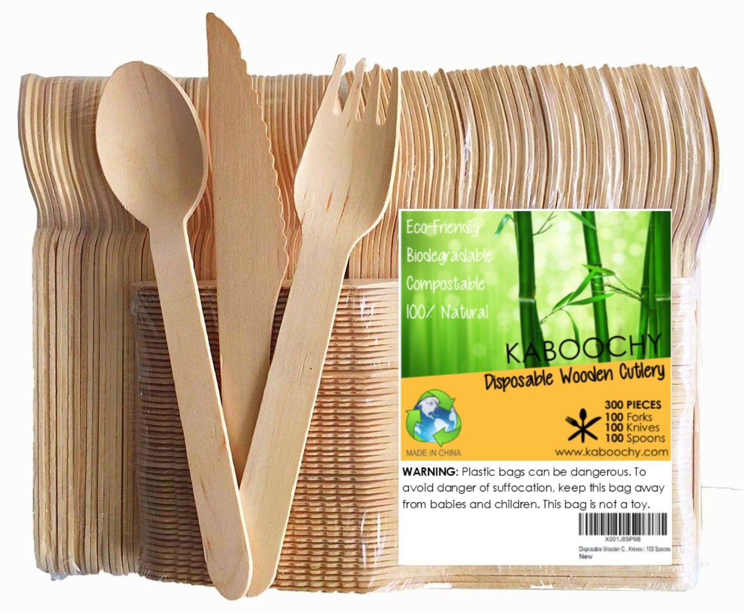 Disposable Wooden Cutlery 300pc Set   100 Forks   100 Knives   100 Spoons, 6.25 inch length. 100% Natural, Eco-Friendly, Compostable, Biodegradable, Premium Utensils for Parties by KABOOCHY