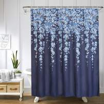 Uphome Weeping Flower Shower Curtain Fabric Vines Floral Shower Curtain Set with Hooks Chic and Elegant Bathroom Decor Heavy Duty and Waterproof(72x72,Navy)