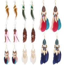 8 Pairs Women Feather Earrings Vintage Bohemian Earrings Long Drop Dangle Earrings Set With Dream Catcher Design