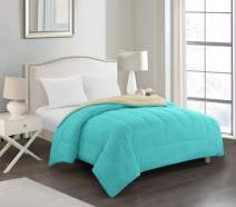 Casa William All Season Ultra-Soft Alternative Reversible Easy-Wash Lightweight Microfiber Comforter, Queen, Aqua and Tan