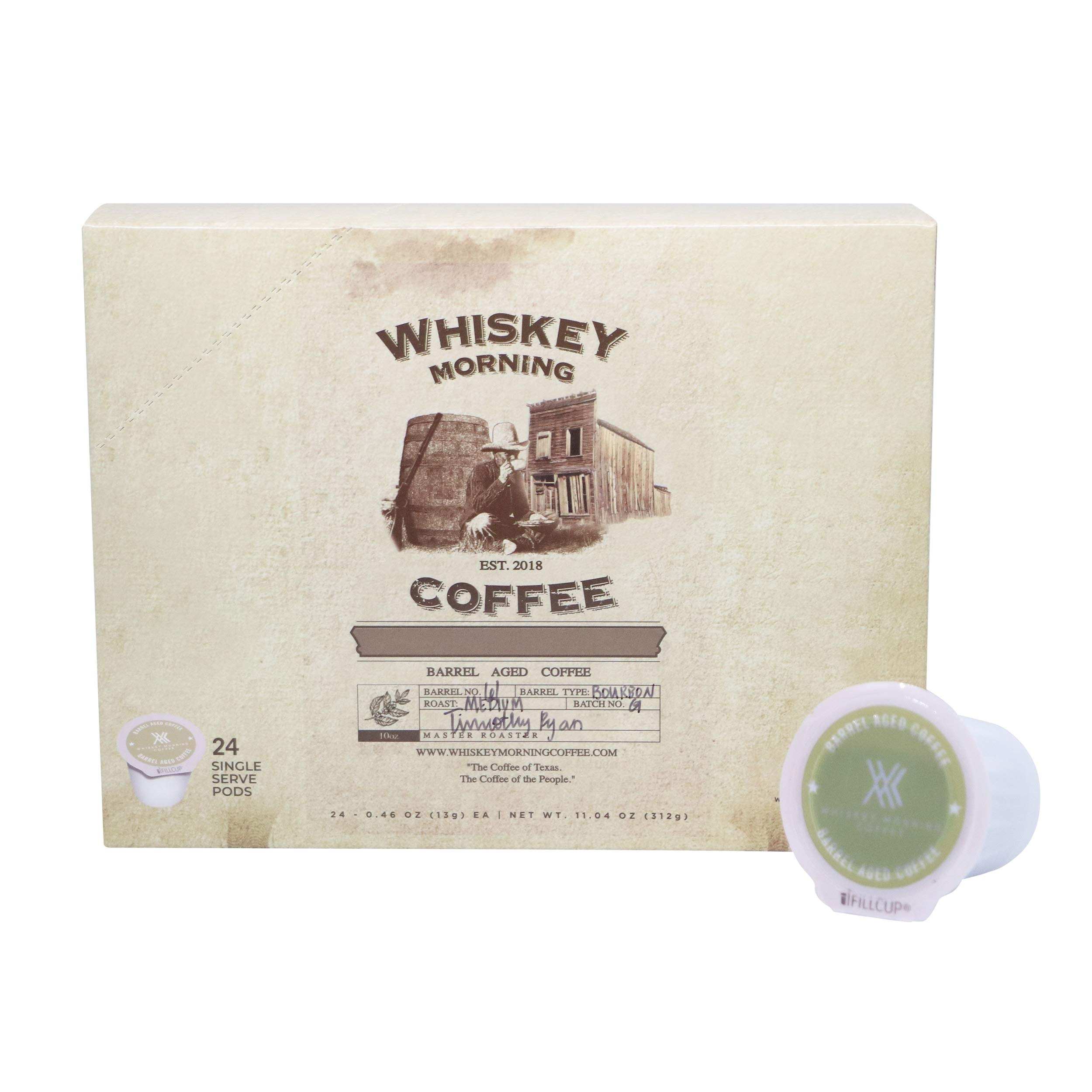 Whiskey Morning Coffee Pods: Whiskey Infused, Fire Roasted, Small Batch Pods. 24ct