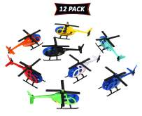 Smart Novelty Metal Die Cast Helicopters for Kids in Assorted Colors (Pack of 12 Toy Helicopters)