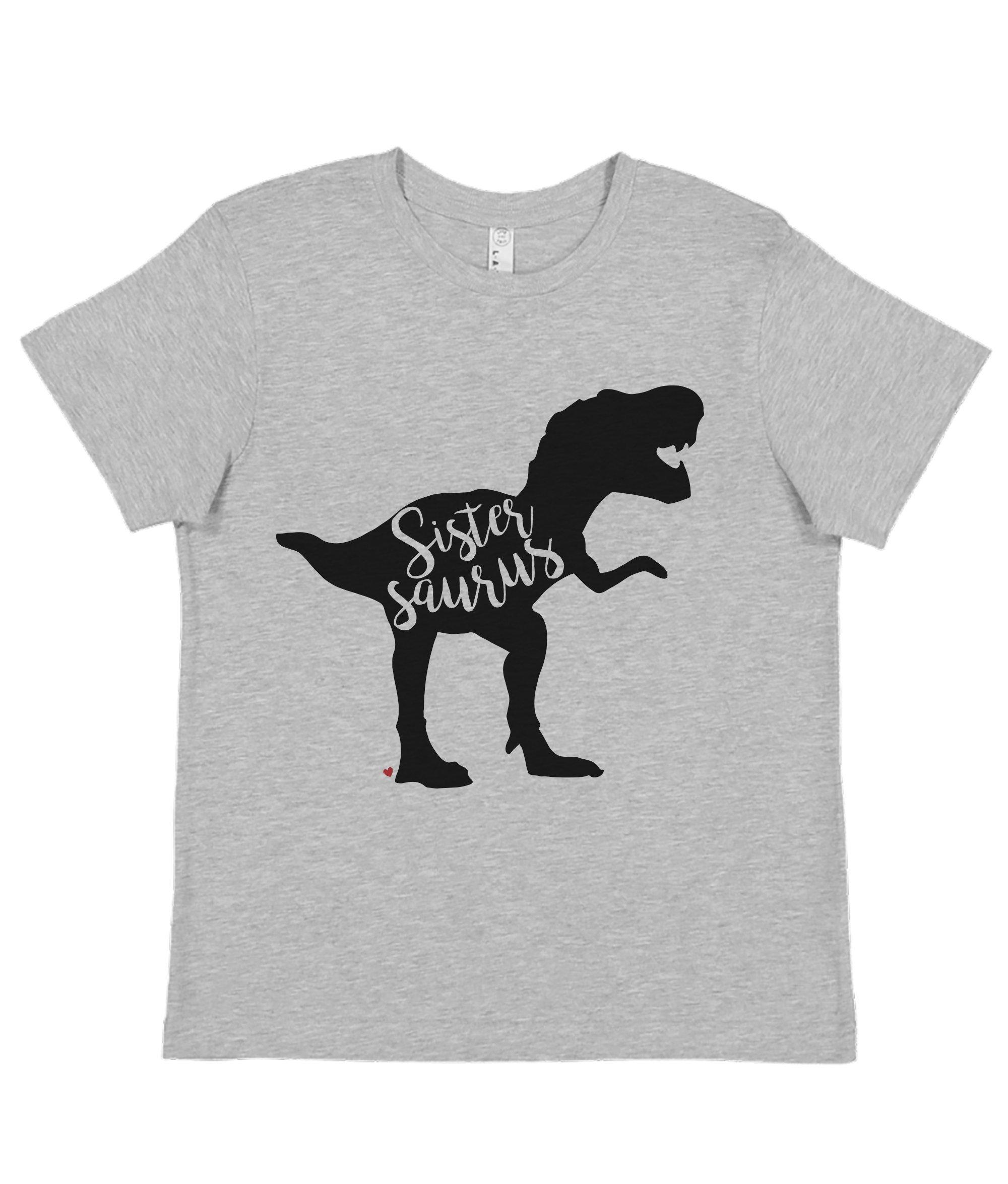7 ate 9 Apparel Girl's Sister Dinosaur Grey T-Shirt