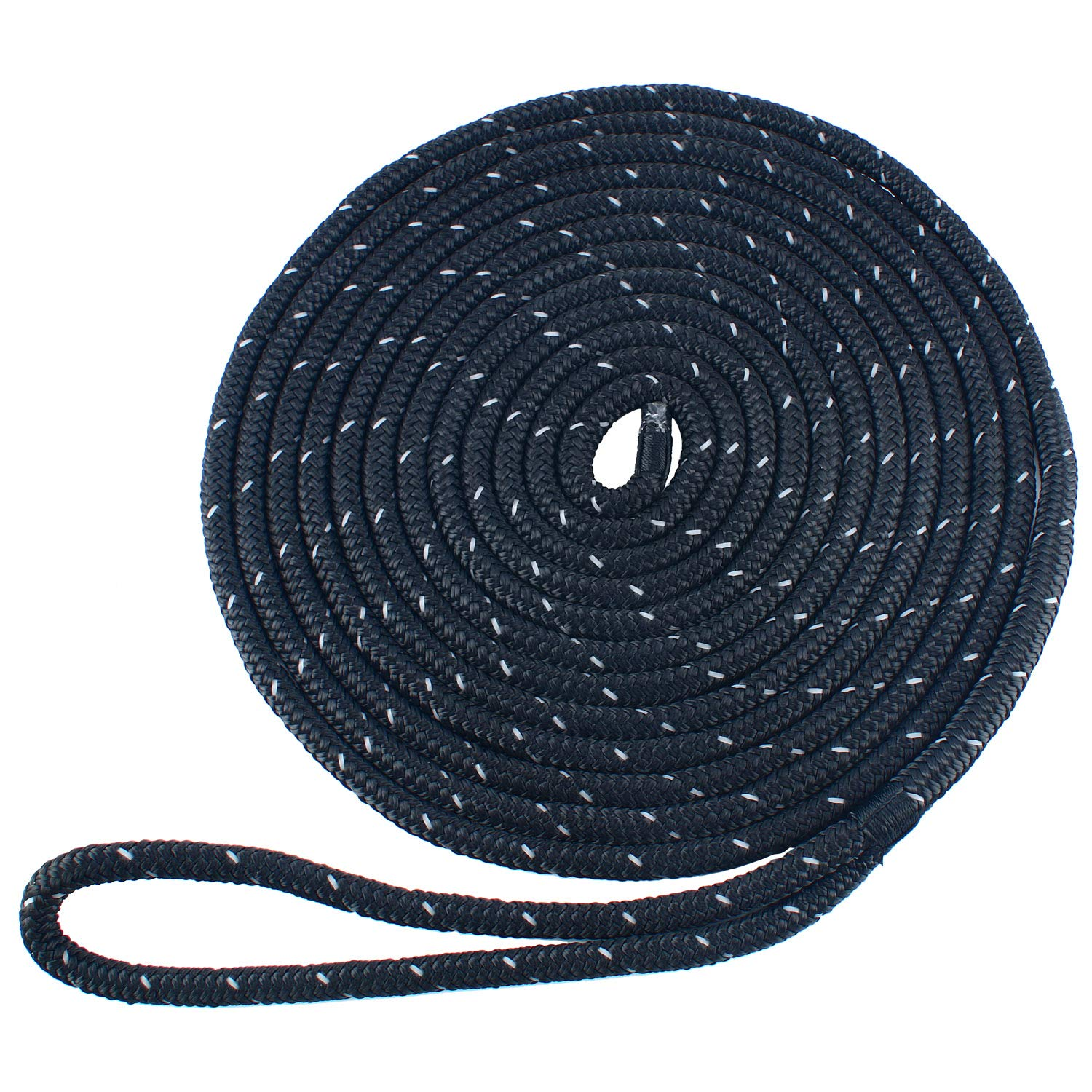 Amarine Made 3/8 Inch 20 FT Reflective Double Braid Nylon Dockline Dock Line Mooring Rope Double Braided Dock Line, Color: Black, White, Blue