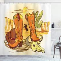 "Ambesonne Western Shower Curtain, Illustration of Old Wild West Elements with Rope Shoes and Image of Cowboy Print, Cloth Fabric Bathroom Decor Set with Hooks, 84"" Long Extra, Yellow Orange"
