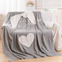 """NEWCOSPLAY Angel Knitted Throw Blanket Embroidered Super Soft Cute Crib Blanket for Newborn Infant Kids (Angel, 30""""x40"""")"""