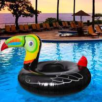 Geefuun Tropical Toucan Inflatable Pool Float Ride On Beach Swimming Ring - Hawaiian Luau Themed Water Toys Party Supplies for Adults& Kids