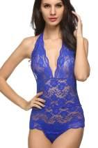 Avidlove Women One Piece Teddy Lingerie Halter V Neck Lace Bodysuit