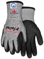 Memphis Glove N9690TCL Ninja Therma Force Double Layer Gloves with Bi-Polymer Dipped Palm and Fingertips, Gray, Large, 1-Pair