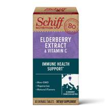 Schiff Elderberry Extract & Vitamin C Chewable Tablets, (60 Count in a Bottle), Vegetarian, Non-GMO, Natural Flavors, Helps Support A Healthy Immune System & Cellular Health٭, Sambucus, Antioxidant