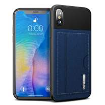 iPhone XS/X Wallet Case Infiland Synthetic Leather Card Case with Contrast Color Style, Slim Protective Shell Case with Card Storage Slots Compatible with iPhone XS 2018 / X 2017 Navy