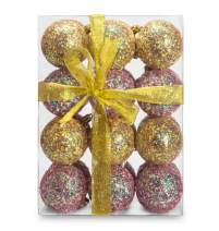 AMS 70mm/24ct Handmade Iridescent Christmas Balls Shatterproof Xmas Ornaments Glitter Special Colour Decoration (70mm, Green&Gray Iridescence)