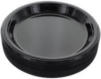 "Amcrate Black Disposable Plastic Party Plates 10.4"" - Ideal for Weddings, Party's, Birthdays, Dinners, Lunch's. (Pack of 50)"