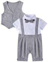 ZOEREA Baby Boy Gentleman Rompers Striped Toddler Suit 2pcs Outfit, 70CM/3-6 Months, Grey