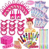 Golray 96 Pack Spa Party Favors for Girls, Multiple Spa Party Supplies - 12 Tote Bags, 24 MINI Emery Boards,12 Colored Hair Extensions, 24 Toe Separators,12 Bandana,12 Unicorn Nail Decal Sets, 12 Set Spa Gift Favors for Girls Party