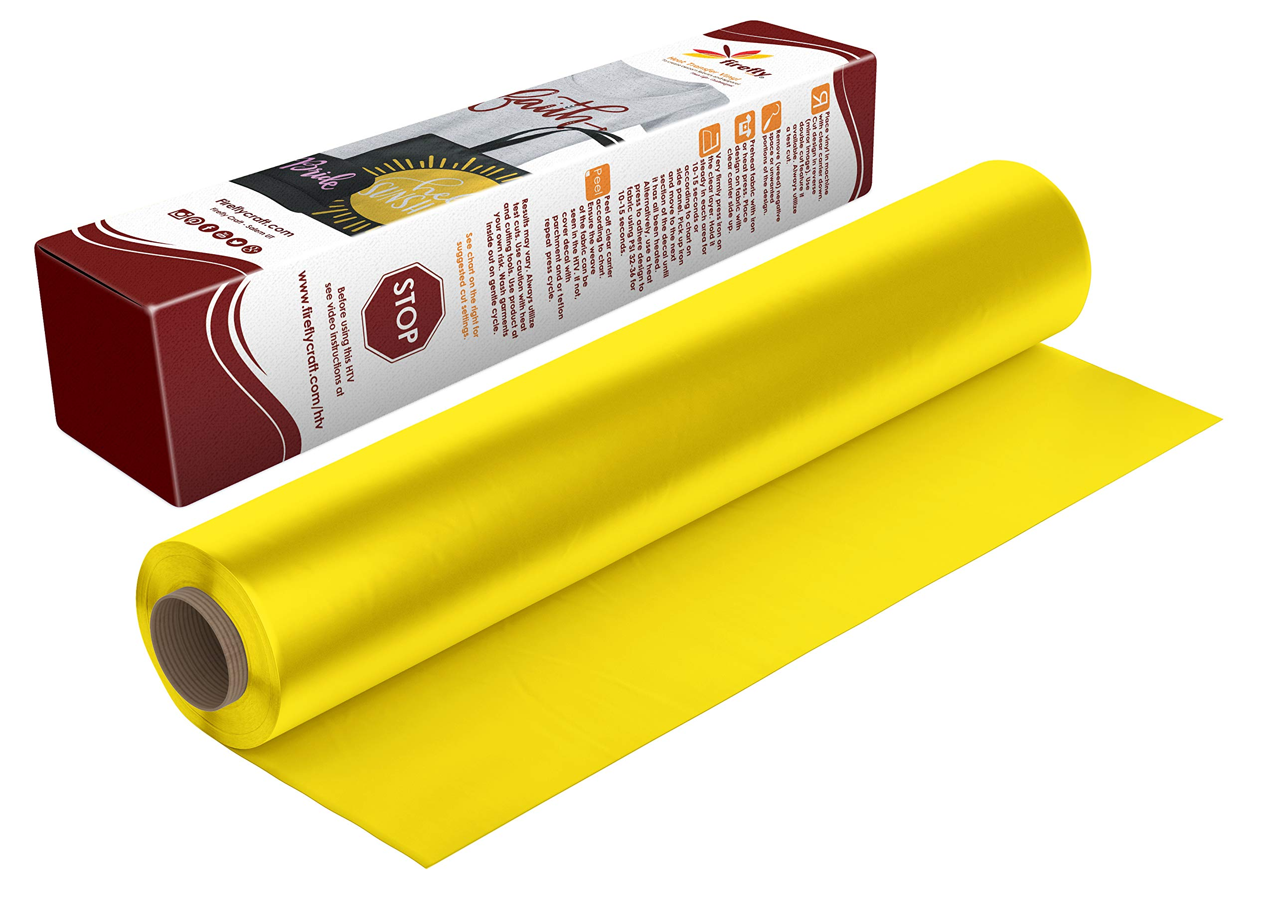 Firefly Craft Regular Yellow Heat Transfer Vinyl   Yellow HTV Vinyl   Yellow Iron On Vinyl for Cricut and Silhouette   5 Feet by 12.25 Roll   Heat Press Vinyl for Shirts