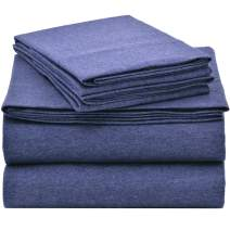 EnvioHome Quality Knit 100% Cotton Jersey Bed Sheet Set - 4 Piece - Queen, Denim