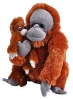 "Wild Republic Mom & Baby Orangutan Plush, Stuffed Animal, Plush Toy, Gifts for Kids, Zoo Animals, 12"""