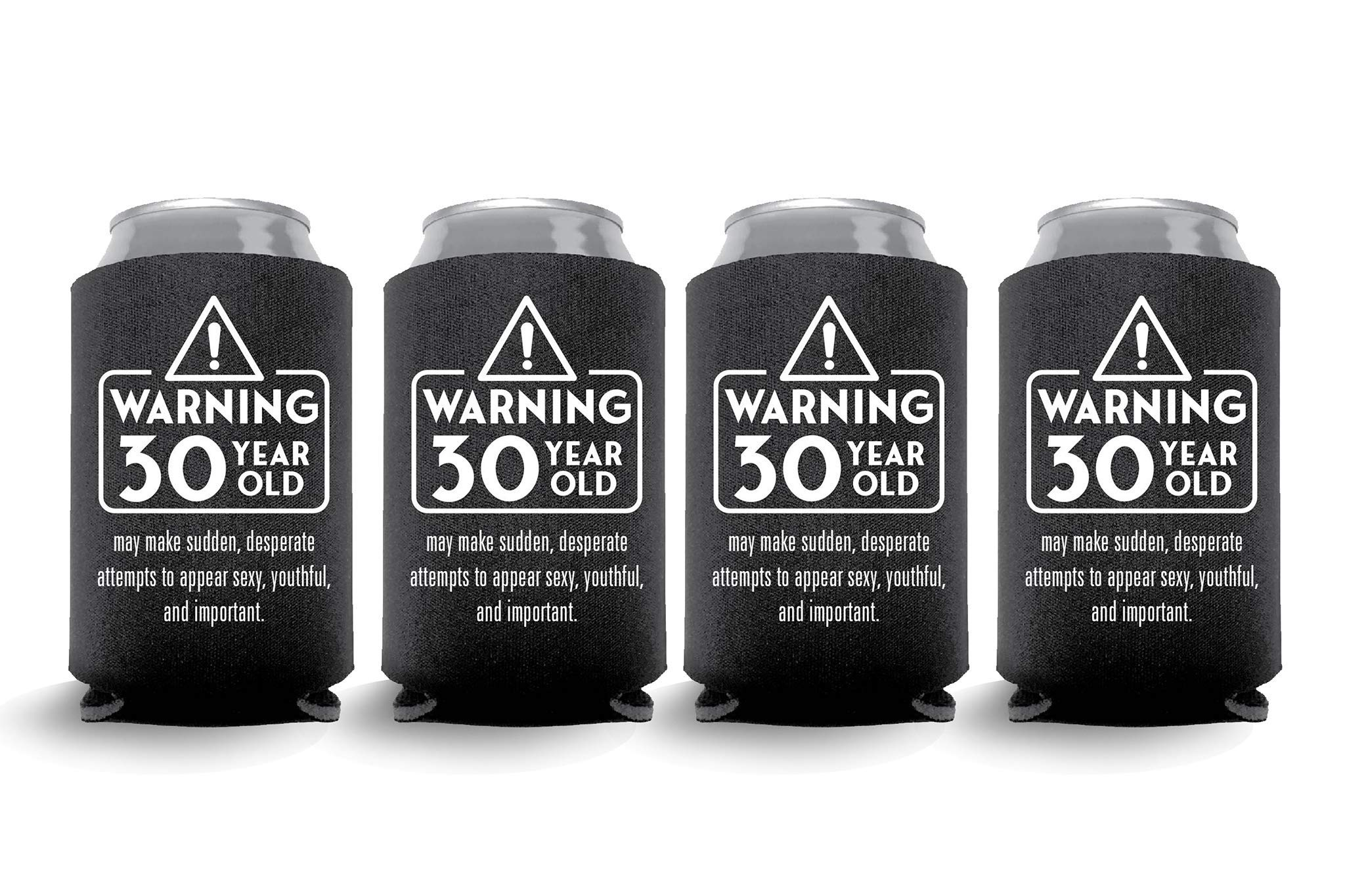 Coolies Can Coolers Collapsible Beer Soft Drinks Bottle Soda Sleeves Durable Insulators Premium Quality for Birthday Parties 30 WARNING Black Set of 6