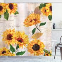"""Lunarable Sunflower Shower Curtain, Romantic Flowers on Old Fashioned Letters Postcards Newspapers, Cloth Fabric Bathroom Decor Set with Hooks, 75"""" Long, Fern Green"""