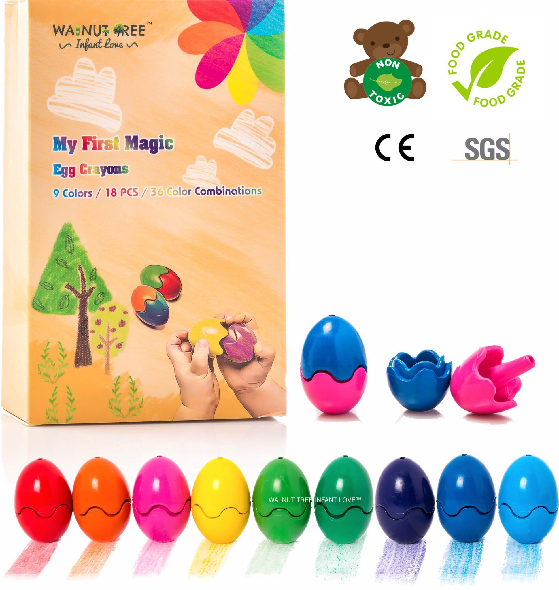Jumbo Crayons [Montessori] for Toddlers ages 4-8 | Child Development Art & Activity Set | Easter Egg Crayons | Non Toxic 9 Colors & Pcs |Palm Grip for Toddlers/Children, Washable, Non Toxic