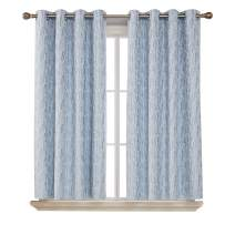 Deconovo Grommet Total Blackout Drapes with Triple-Pass White Coating Back Layer with Painting Pattern Thermal Insulated Curtain Panels for Living Room Azure Blue 2 Panels 52 X 45 Inch