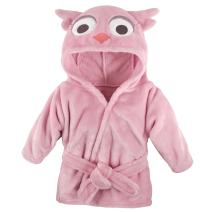 Hudson Baby Unisex Baby Plush Animal Face Robe, Pink Owl, One Size, 0-9 Months