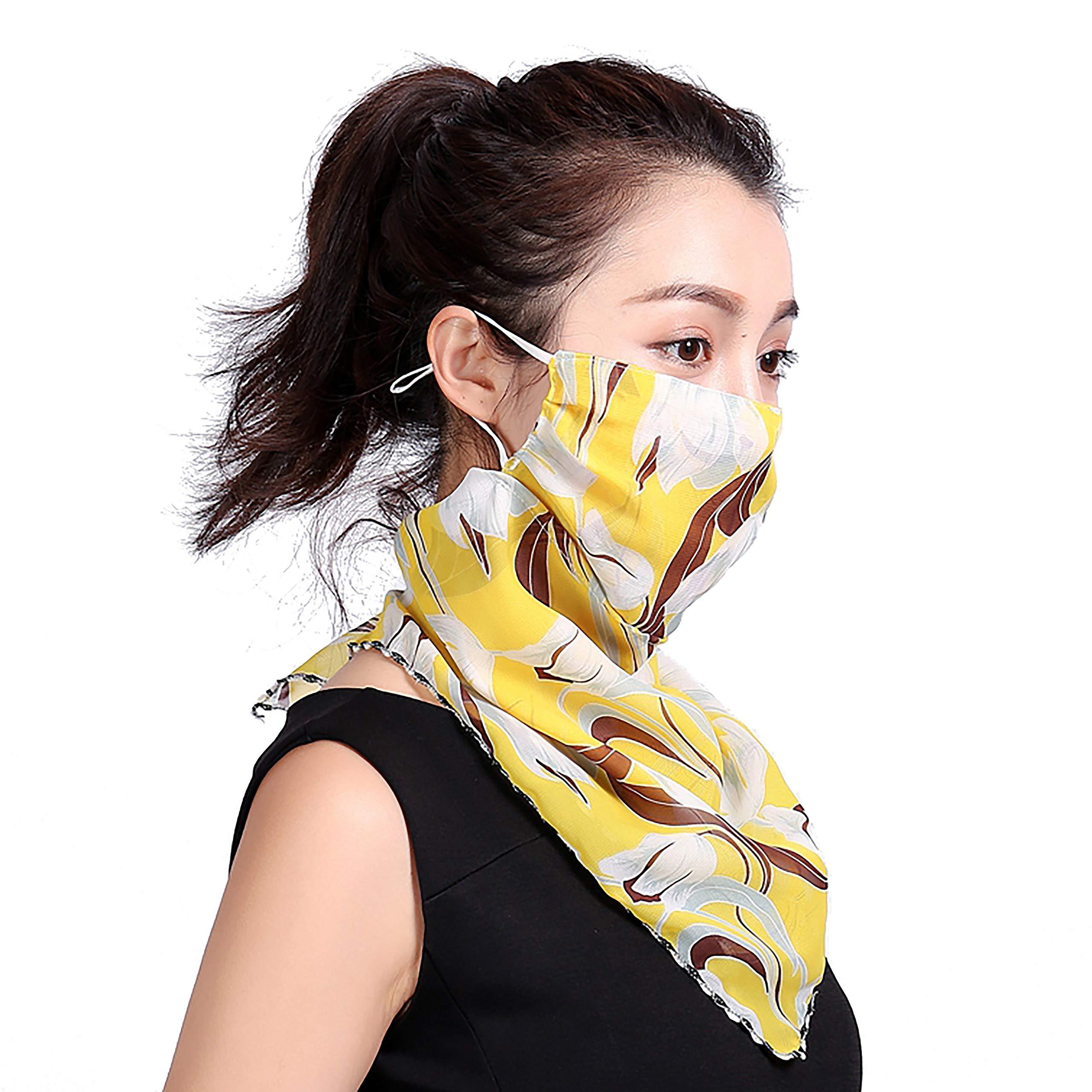LXSLFY Chiffon scarf facial Mask-Women's Dustproof and Ultraviolet Turban-Balaclava-Adjustable Comfortable Breathable