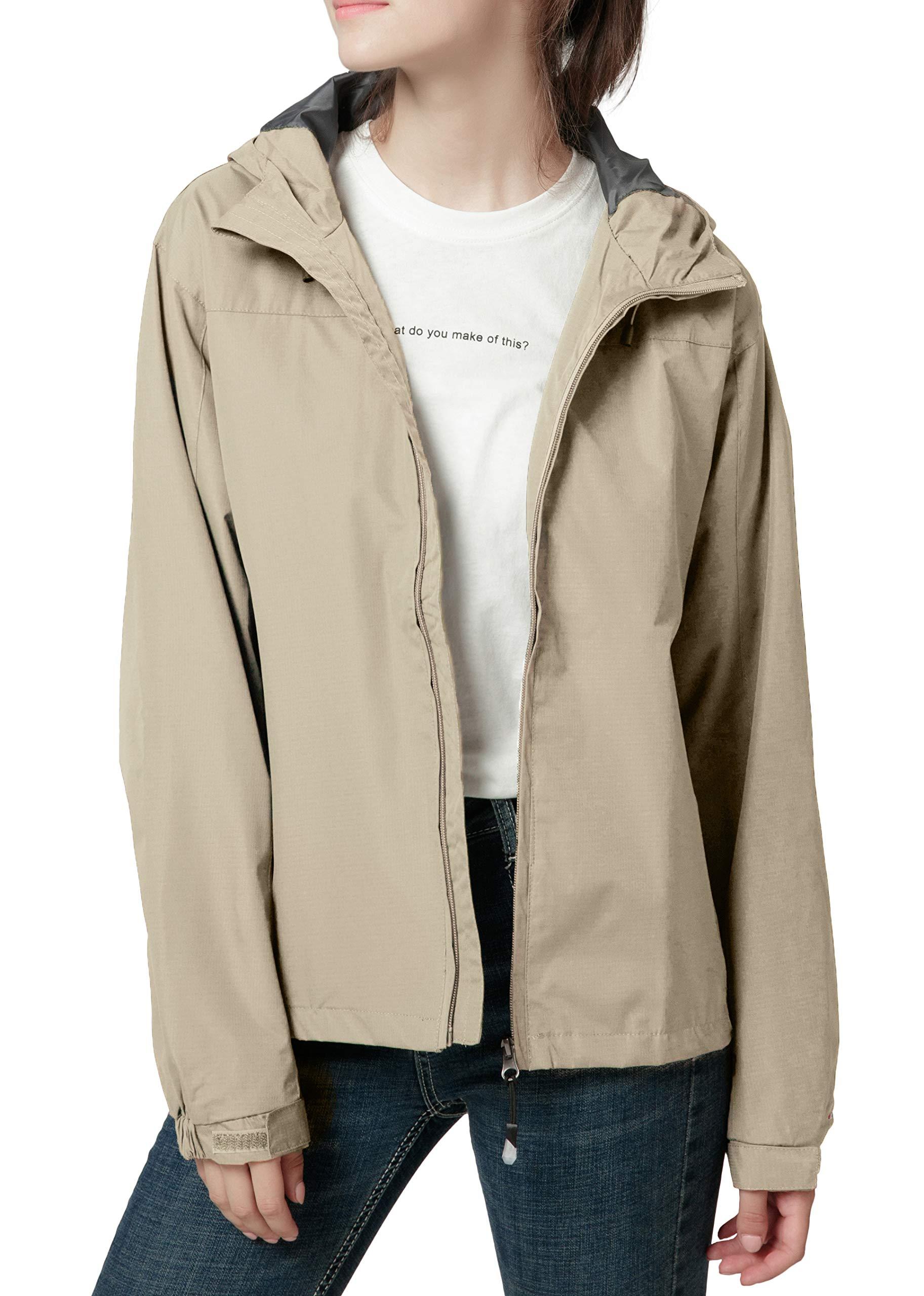 Spmor Women's Waterproof Lightweight Jacket Rain Coat Windproof Skin Hooded Jacket