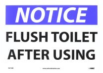"NMC N275RB OSHA Sign, Legend ""NOTICE - FLUSH TOILET AFTER USING"", 14"" Length x 10"" Height, Rigid Plastic, Black/Blue on White"