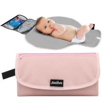 Zooawa Baby Diaper Changing Pad, Lightweight Waterproof Travel Diaper Clutch, Diaper Changing Mat Station with Mesh Pockets and Padded Head Rest for Home Use, Pink