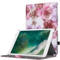 MoKo Case Fit 2018/2017 iPad 9.7 6th/5th Generation - Slim-Fit Multi-Angle Folio Cover Case with Auto Wake/Sleep Compatible with iPad 9.7 Inch 2018/2017, Floral Purple